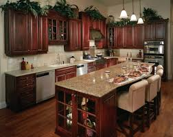 kitchen dark brown wooden kitchen cabinet with cream counter top