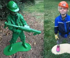 Halloween Statue Costume Plastic Army Man Living Statue Costume 5 Steps Pictures