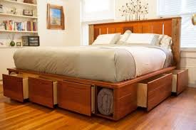 Building A King Size Platform Bed With Storage by Alluring Bed Plans With Drawers Underneath And How To Build A King