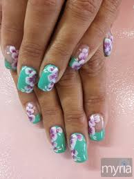mint green gel polish with one stroke flower nail art nails