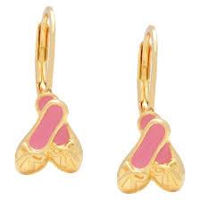 leverback earrings 18k gold overlay enamel children s ballet slippers leverback