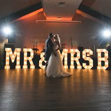 mr and mrs sign for wedding the word is light up letters for hire