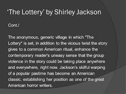 themes in the story the lottery the lottery by shirley jackson ppt video online download