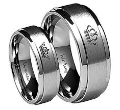 his and hers engagement rings king his ring silver stainless steel wedding