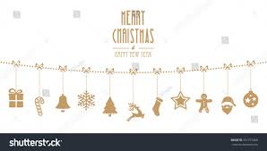 christmas ornaments hanging gold isolated stock vector