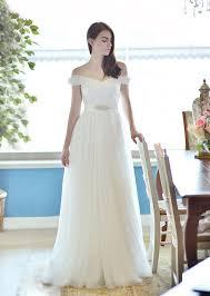 sle wedding dresses the shoulder ivory soft tulle a line wedding dress beaded