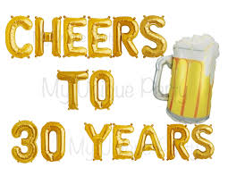 cartoon beer cheers cheers to 30 years letter number balloons air fill only 34