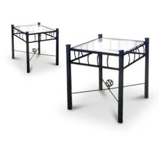 amazon com 2 black metal nightstands glass end tables kitchen
