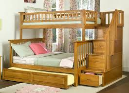 Bunk Bed With Trundle Teak Bunk Bed In Honey Finish With Staircase And