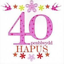 birthday card u0027penblwydd hapus 40 u0027 pink u2013 siop cwlwm