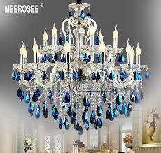 blue crystal chandelier light meerosee modern large 18 arms silver crystal chandelier light blue