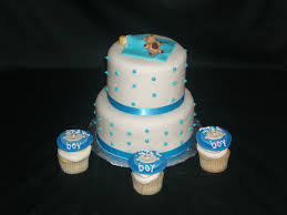 baby shower cakes boys boy baby shower fondant two tier blue and white cake and cupcakes
