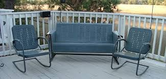 Old Metal Patio Furniture Vintage Three Seat Metal Porch Glider And Two Chairs For Sale