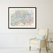 central germany vintage antique map wall art bedroom home decor
