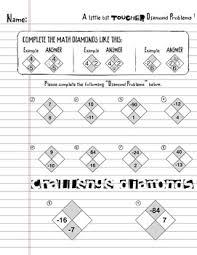 diamond problems worksheet bundle factoring trinomials algebra