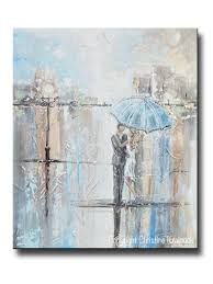 Contemporary Art Home Decor Original Art Abstract Painting Couple W Umbrella Romantic Dance
