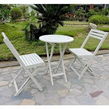 Folding Patio Bistro Set International Caravan Royal Fiji Acacia 3 Piece Folding Bistro Set