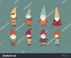 set cute cartoon gnomes funny elves stock vector 554013730