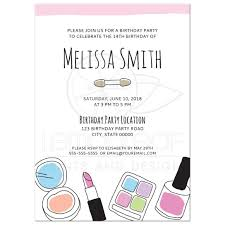 makeup doodle birthday party invitation for teen girls