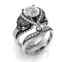 skull wedding ring sets skull engagement ring set in 10 k gold white moissanite set temple