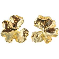 aluminum earrings jar large geranium gold tone aluminum earrings for sale at 1stdibs