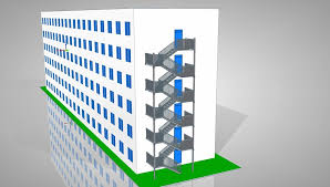 evacuation stairs for 6 storey building stl 3d cad model grabcad