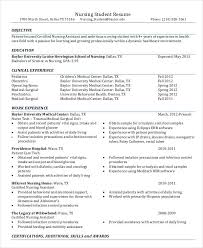 examples of nursing student resumes
