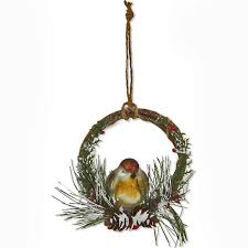 gisela graham glass robin in a twig ring tree decoration