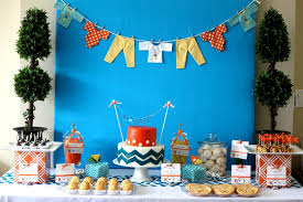 cheap baby shower decorations for boy orange and blue chevron baby