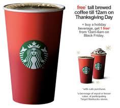 starbucks black friday free tall brewed coffee w cafe purchase at target starbucks