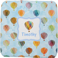 Blue Bath Mat Watercolor Air Balloons Memory Foam Bath Mat Personalized