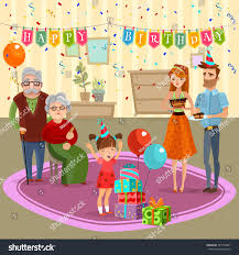 little birthday family celebration parents stock vector