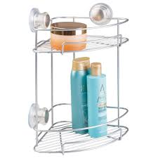 amazon com interdesign turn n lock suction bathroom shower caddy amazon com interdesign turn n lock suction bathroom shower caddy corner basket for shampoo conditioner soap 2 tier silver home kitchen
