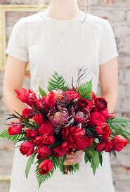 Red Wedding Bouquets Red Bouquet Of Garden Roses Tulips Protea And Ferns Bouquet