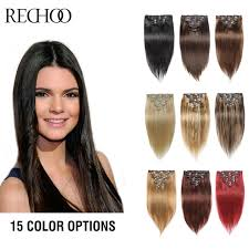 clip in human hair extensions rechoo remy clip in hair extensions 7 piecese set human hair clip