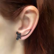 climber earrings black dragonfly ear climber