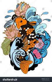 beautiful line art koi carp tattoo stock vector 668567584