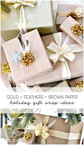 cheap gift wrap brown wrapping paper with feathers and gold ribbon duckling