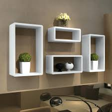 Narrow Cube Bookcase by Wall Cubes Shelves White