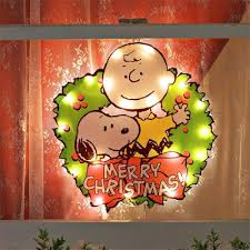merry lighted sign peanuts lighted window decoration new
