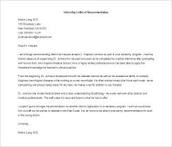 8 letters of recommendation for internship u2013 free sample example