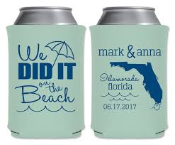 koozie wedding favor we did it on the 1b custom state map coolers wedding