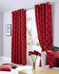 red midtown embroidered faux silk fully lined eyelet curtains