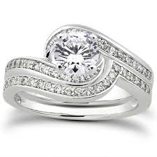 bridal sets rings 1 carat diamond swirl bridal wedding ring set