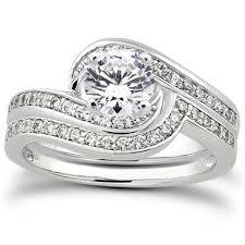 bridal set wedding rings 1 carat diamond swirl bridal wedding ring set