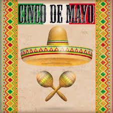 vintage cover mexican ornaments sombrero maracas cinco de mayo