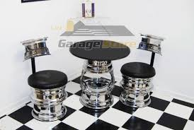 Glass Bar Table And Stools Hot Rod Bar Stools The Deuce Car Wheel Stool And Table Set