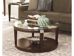 Hammary Sofa Table by Hammary Solitaire Contemporary Round Coffee Table With Glass Top