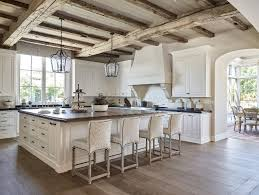 White Wood Ceiling by Traditional Kitchen With Rustic Reclaimed Ceiling Beams