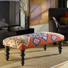 Kilim Storage Ottoman Hidden Treasures Kilim Rug Bench W Turned Legs Accent And